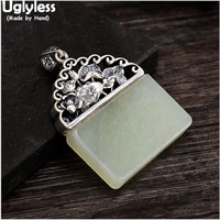 Uglyless Real 925 Sterling Silver Natural Square Jade Pendant without Necklaces Women Ethnic Handmade Lotus Jewelry Leaf Bijoux