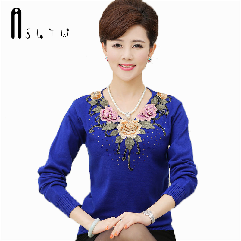 Detail Feedback Questions about ASLTW M XXXXL New Women s Sweater Plus Size Spring  Fashion Embroidery Basic Shirt Long Sleeve Knitting Sweater For Women on ... 2192cb819