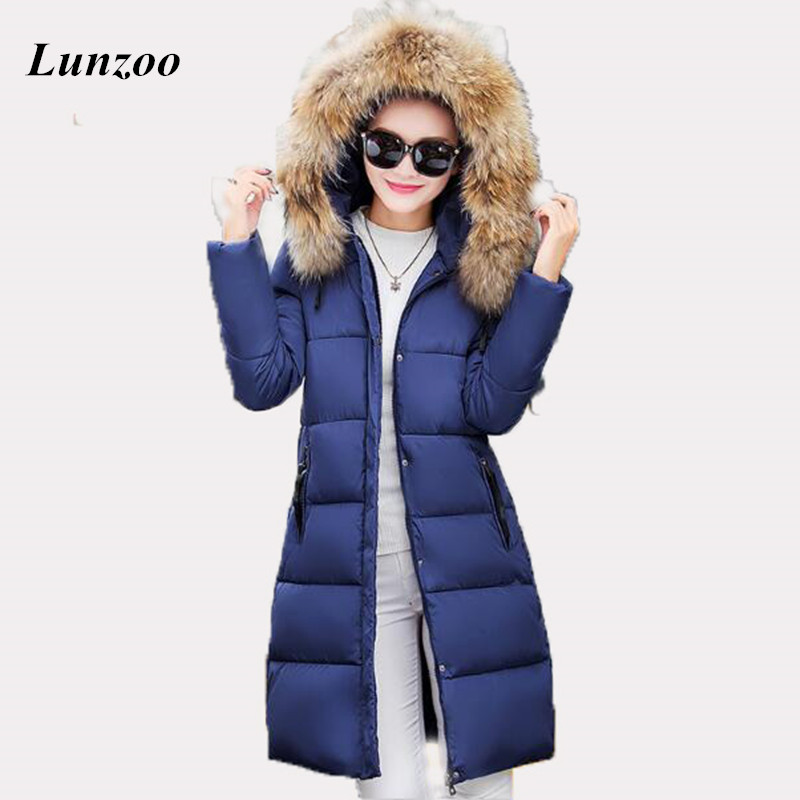2017 fashion large fur collar winter coat women slim medium-long parka female thickening down jacket ladies plus size outerwear 2016 new long down jacket for women winter coat parka solid coat fur collar woman casual plus size fashion slim casacos feminino