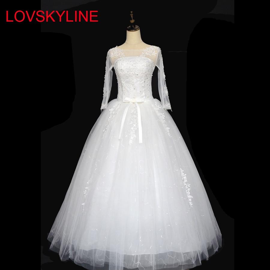 2019 Vestido De Noiva Custom Made See Through Back LACE-UP Beaded Appliqued Long Sleeve Lace Wedding Dress