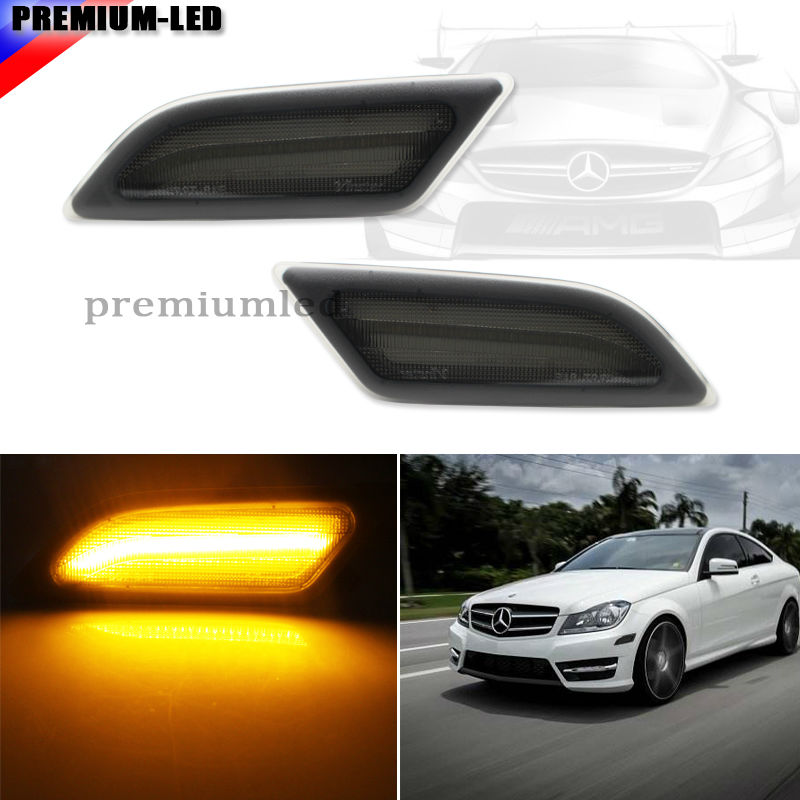 (2) Euro Smoked Lens Amber LED Side Marker Lights For 2012-2014 Mercedes Benz W204 LCI C250 C300 C350 Sedan/Coupe 2 x t10 led w5w canbus car side parking light bulbs with projector lens for mercedes benz c250 c300 e350 e550 ml550 r320 r350