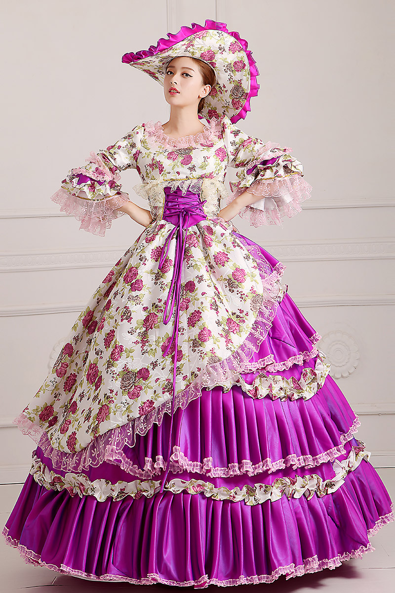 Ningbo TAOPU boutique Store purple/hot pink/yellow ruffled flare sleeve ball gown with hat medieval dress Renaissance gown queen Victorian Belle Ball gown
