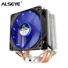 ALSEYE 4 Heatpipes CPU Cooler TDP 160 W 90 มม. LED CPU พัดลมอลูมิเนียมฮีทซิงค์สำหรับ LGA 775/1150 /1151/1155/1156/1366 & FM1/2, AM2 +/3 +