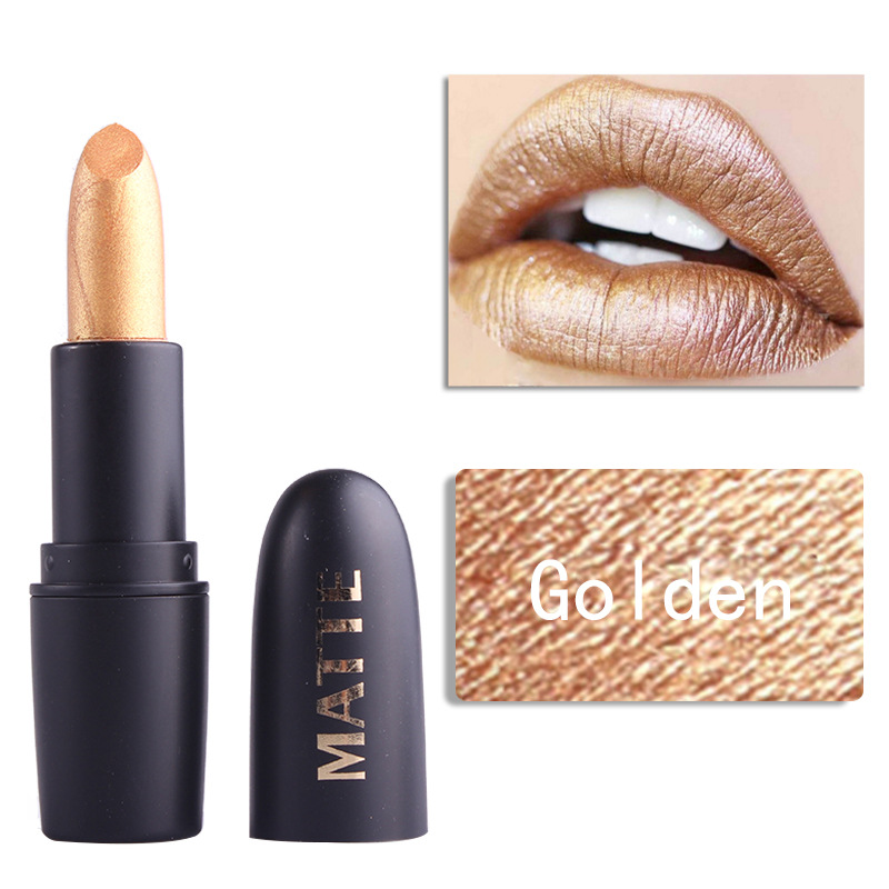 2pcs high quality matte lipstick makeup cool personality girl costly golden black lipstick waterproof long lasting lips cosplay in Lipstick from Beauty Health
