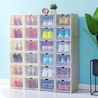 Household Plastic Transparent Shoe Box Thickening Shoe Storage Box Dormitory Simple Folding Flip Free Combination Shoe Box