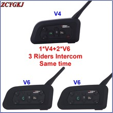 3 Riders Talking 1 *V4+2 *V6 BT Interphone at the same time for Judge Bike Wireless Bluetooth Headset Intercom