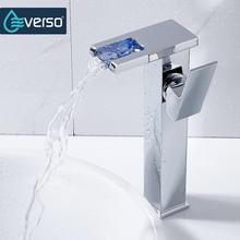 Everso воды Powered светодиодные кран для ванной смеситель латунь смесителя Водопад смесители горячая холодная кран бассейна Нажмите