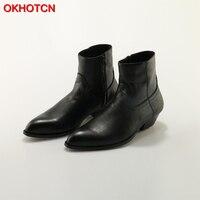 OKHOTCN из натуральной кожи Мужские ботинки черный острый носок Роскошные модные классические Бизнес офисные формальные ботильоны молния Муж