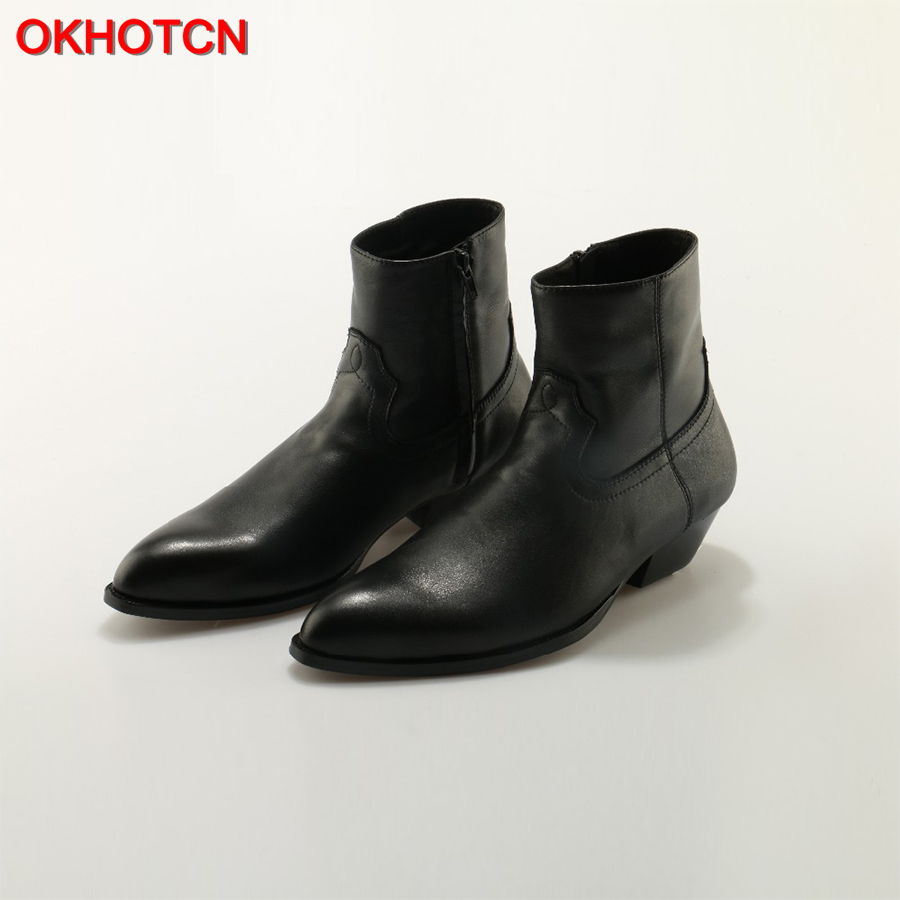 OKHOTCN Genuine Leather Men Boots Black Pointed Toe Luxury Fashion Classic Business Office Formal Ankle Boots Zip Men Shoes Male high quality 2018 fashion classic luxury men boots genuine leather casual black ankle boots for men male shoes business booties