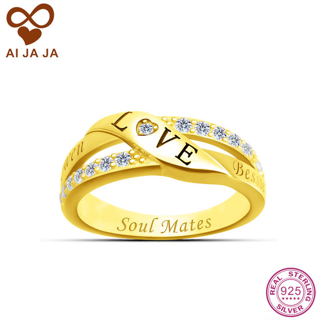 AIJAJA 925 Sterling Silver Love Symbol Wedding Rings Personalized Names Engraved  Heart Rings For Women Crystal Paved Jewelry