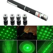 1 Unid 5 en 1 Puntero láser Verde 5 mW 532nm Estrella Efecto tapas de 5 Cabezales Láser Astronomía Puntero Lazer Haz Visible Luz Gato juguete