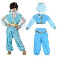 Child Arabian Princess Costume Girls Jasmine Aladdin Genie Bellydancer Costume Veil Harem Outfit Halloween Carnival Fancy Dress