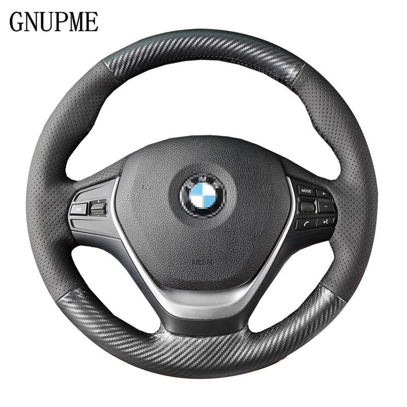 GNUPME Noir Artificielle En Cuir cousu Main Couverture De Volant de Voiture pour BMW E46 E39 330i 540i 525i 530i 330Ci m3 X1 X3 X5 X6