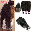 Indian Curly Hair Soft Kinky Curly Hair With Closure 3Pcs 7A Unprocessed Kinky Curly Virgin Hair Extensions With Lace Closure