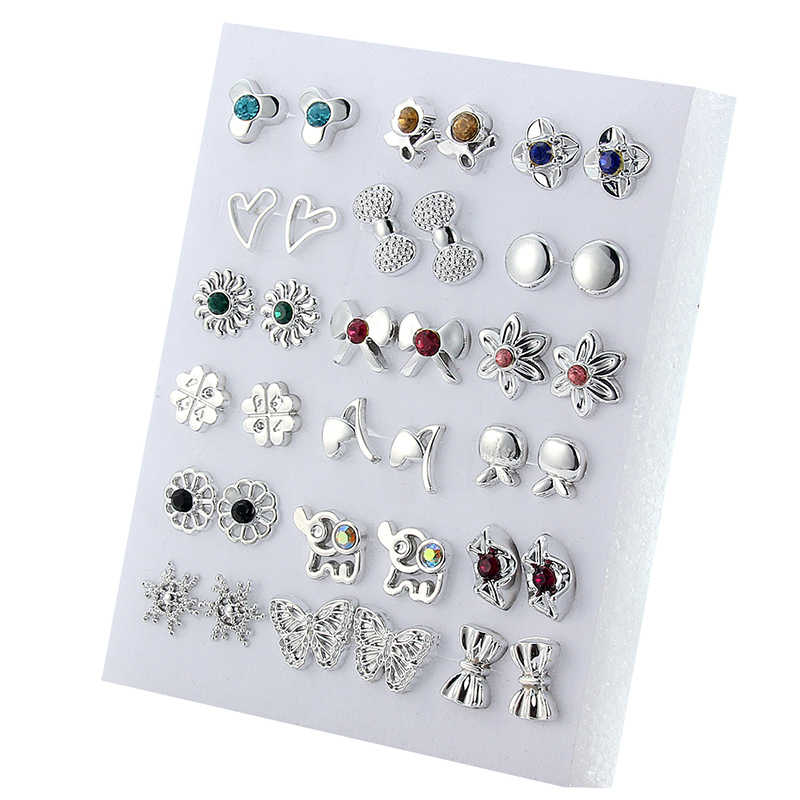 18 Pairs Colorful Rhinestone Hollow Flower Animal Mix Style Plastic Stud Earrings Set For Women Girls