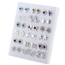 18 Pairs Colorful Rhinestone Hollow Flower Animal Mix Style Plastic Stud Earring