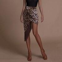 Leopard Print Latin Dance Skirt Women Fashion Ballroom Dancing Fringe Skirts Tango Cha Cha Samba Rumba Practice Wear DC1317