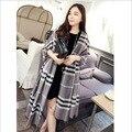 20164 cor hot moda marcas de luxo xadrez cashmere xale manto inverno charme acessórios de moda presentes de Natal das mulheres