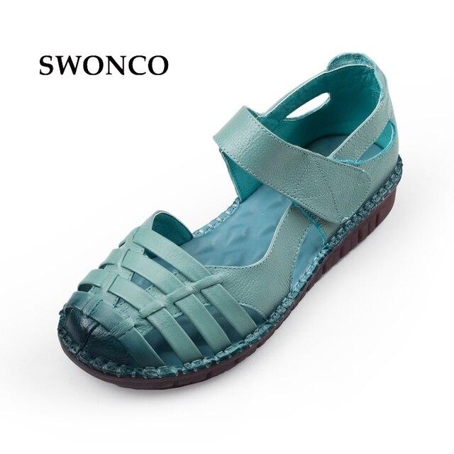 346fc30068e Swonco Sandalias de mujer 2018 verano Cuero auténtico señoras Zapatos mujeres  Sandalias planos ocasionales Zapatos hook
