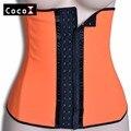 Nueva llegada de dos pisos orange mujeres látex coset cintura cincher para body shapers deshuesado acero cintura trainier xs-xxxl
