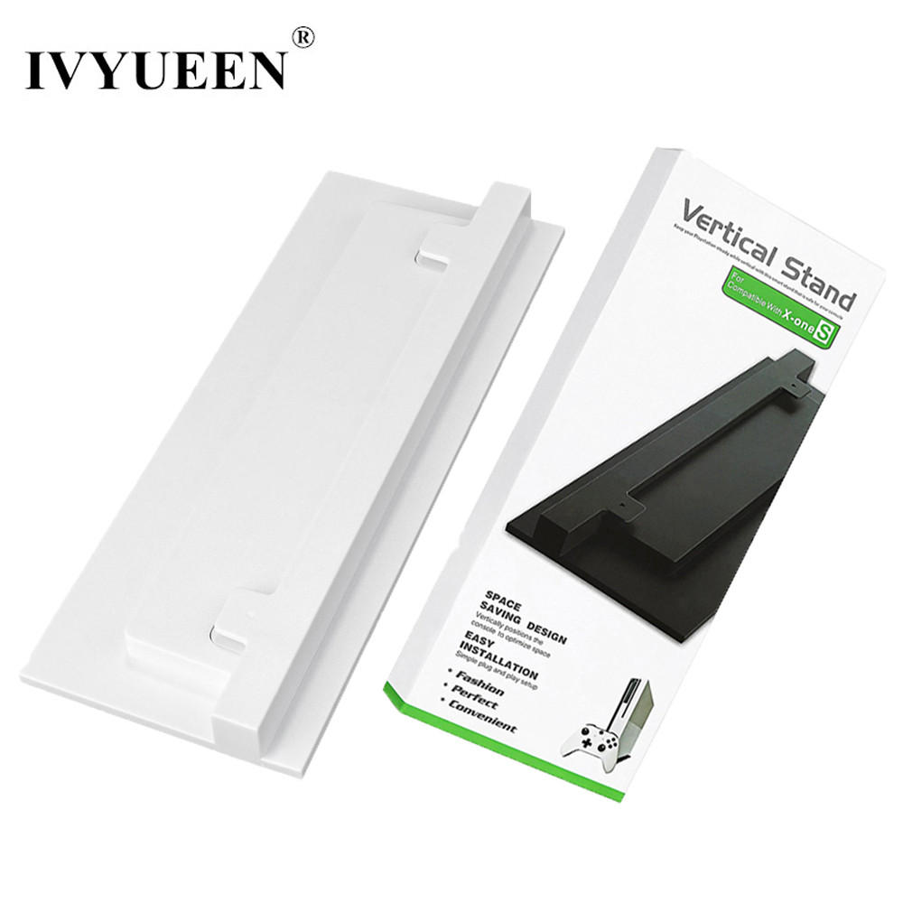IVYUEEN Anti-Slip Vertical Stand For Xbox One S Slim Console Dock Mount Cradle Holder for X Box One S Accessories Black / White vertical stand mount holder cradle for ps4 grey