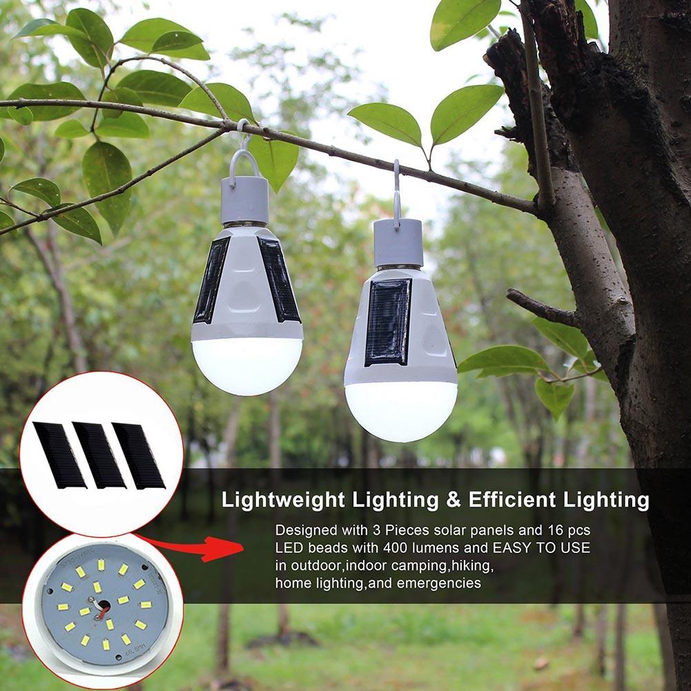 Portable LED Bulb 7W Solar Energy Saving Garden Lamp LED Lighting Solar Panel Light Outdoor Camping Hiking Bulb White/Warm Light