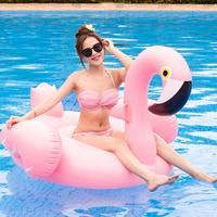 150CM 60 Inch Giant Inflatable Flamingo Floating Toy on Water Pool Rafts Inflatable Ride Ons Swimming Ring Water Float Bed Toys