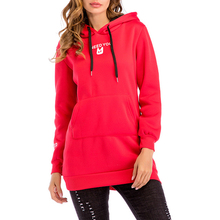 Women Long Hoodies Pullovers Hooded Letter Long Sleeve Streetwear Pockets Winter Casual Sweatshirts Lady Clothes Tops /-