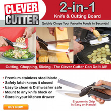 Clever Cutter 2 in 1 Kitchen Knife & Cutting Board Scissors Stainless Steel Kitchen Food Cutter for Meat Vegetable