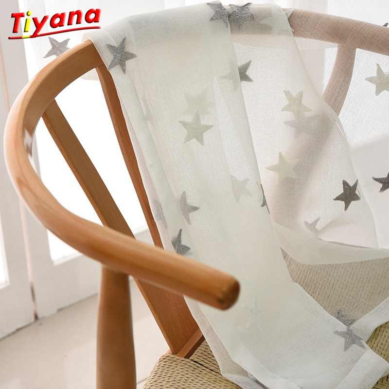 Children Decorative Curtain Star Embroidery White Linen Tulle Curtains For Living Room Grey Sheer Drapes For Bedroom wp159 *30
