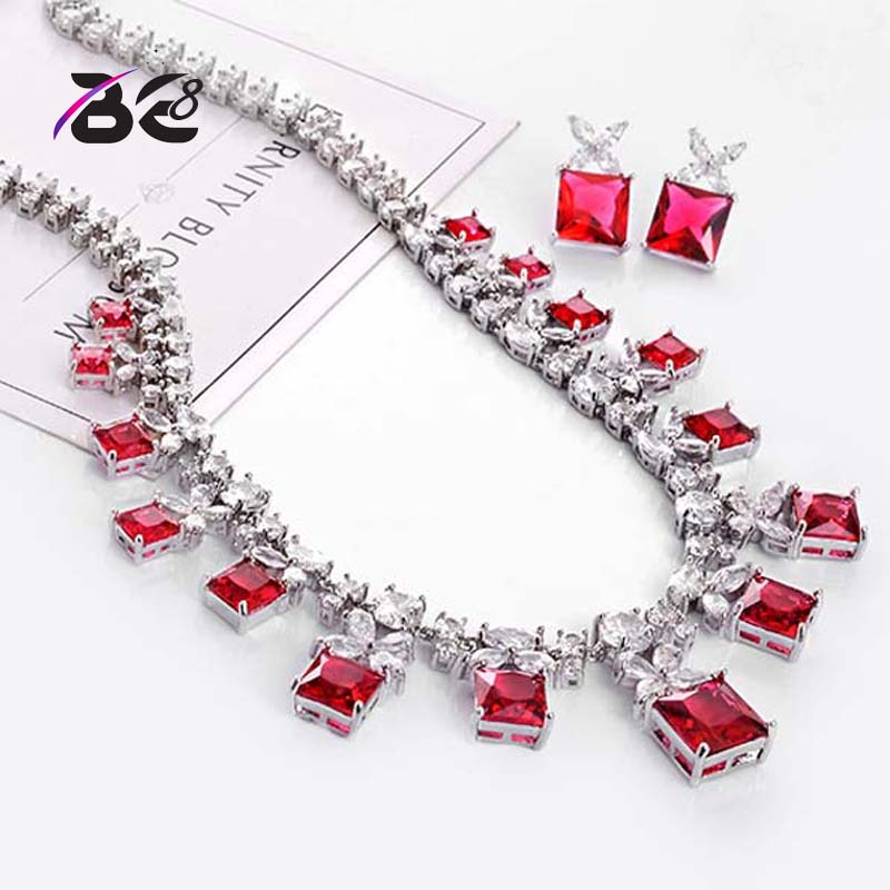 BE8 Fashion Red Cubic Zircon Bridal Dubai Jewelry Set For Women 5 Colors Earring Necklace Sets Dress Accessories S-022 be8 luxury red water drop pendant jewelry set for women 5 colors bohemia necklace earring sets bridal dress accessories s 024