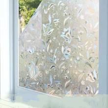 3D Static Privacy Window Film Tulip Flower Frosted Decorative Self-Adhesive films Glass Stickers Opaque Stained 30cm X 100cm