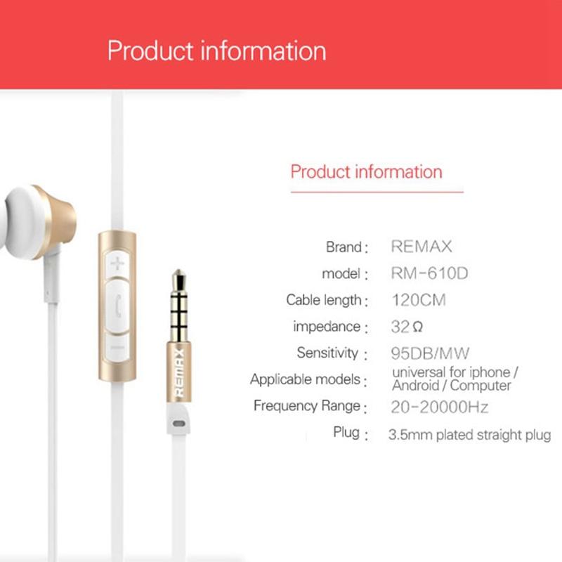 Remax Rm-610d 3.5mm enchufe auriculares en línea de control auriculares estéreo en el oído auriculares con micrófono para Hifi teléfono