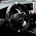 Car Steering Wheel Cover, 38CM/15'' Universal Cystal Crown PU Leather DAD Diamond steering wheel Cover   hot selling car styling