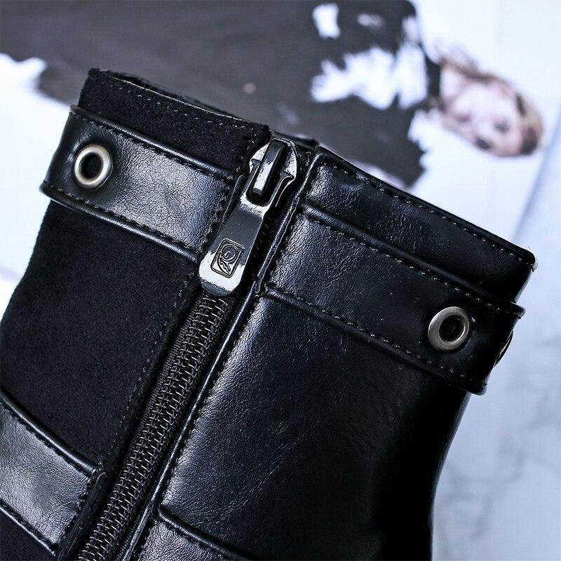 Velours Pour Bout Black Bottes La 2018 Taille De L'hiver gray Chelsea Plus Curvaness Cuir Rivet En Zipper Pointu Femmes Boucle Cheville Plat xnSwwAIaF