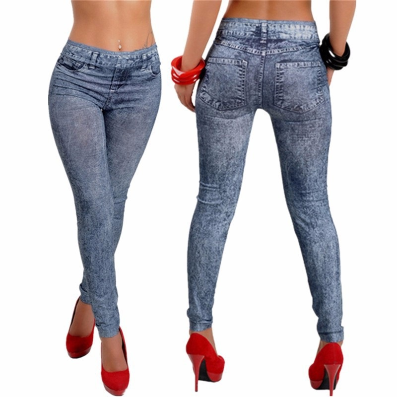 2017 Spring Autumn New Fashion Skinny Slim Thin High Elastic Waist Washed Jeans Leggings Pencil Pants Denim Leggings For Women