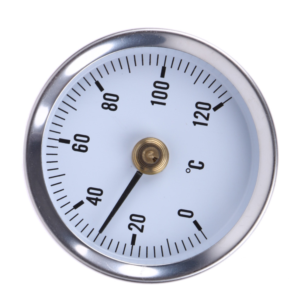 63mm Hot Water Pipe 120º Thermometer Bimetal Stainless Steel Temperature Meter