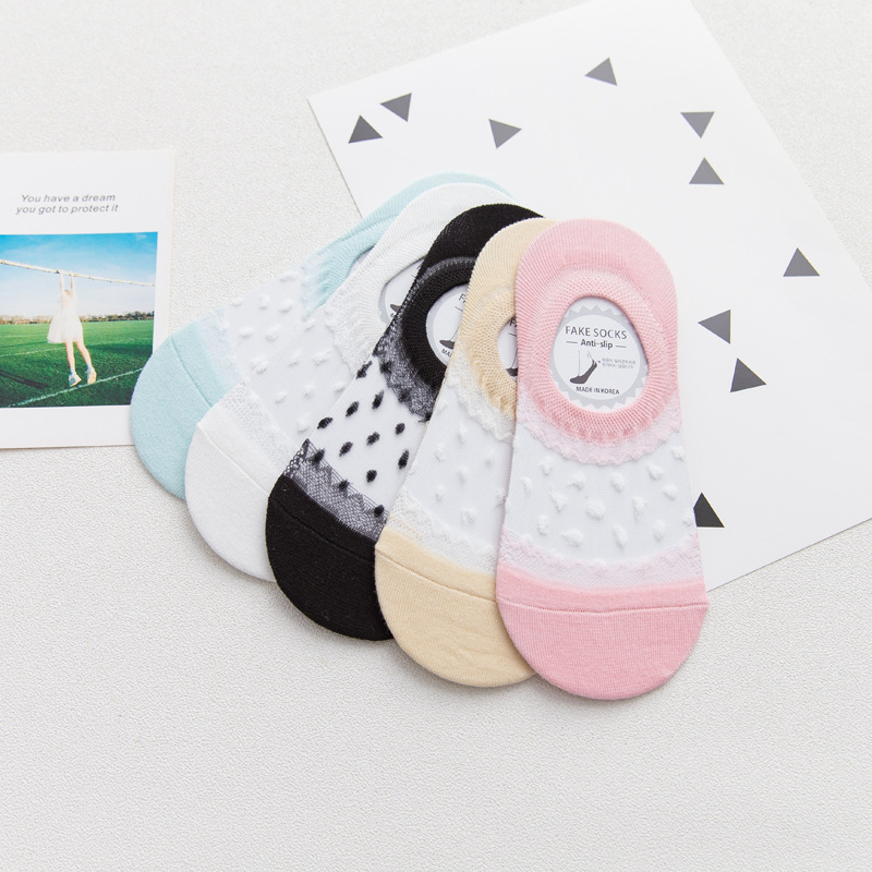 Fashion Transparent Women Short Socks Dot Patterned Summer Socks Female Hollow Out Thin Boat Socks Cotton Sock Slippers Hosiery