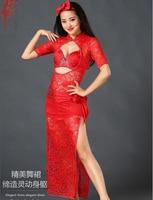 Lady Performance clothing mesh stones belly dance dress/bra/headdress/underwear/belt 5pcs belly dance set girls dance clothes