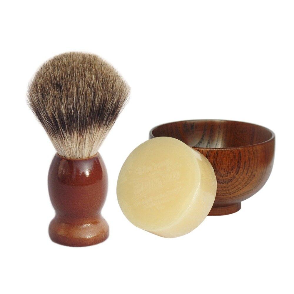 3pc/set Badger Shaving Brush Soap Wood Bowl for Man Beard Clean Care