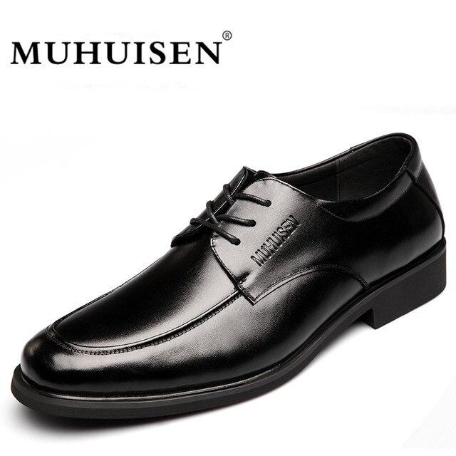 e880babdf Marca de Luxo Homens MUHUISEN Vestido Formal Sapatos Da Moda Sapatos de Couro  Genuíno Ata Acima