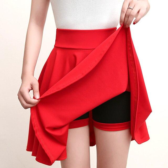 a29c8c6c9 € 6.72 41% de DESCUENTO Pantalones cortos de Color sólido faldas para mujer  de verano de 2018 evita la exposición cintura alta Falda plisada Mujer ...