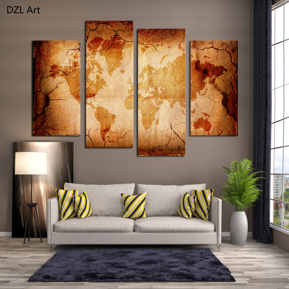 4 Piece Old Map Modern Home Wall Decor Canvas Picture Art HD Print Painting On Canvas for Living Room