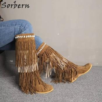 Sorbern Luxury Tassel Brown Wedge Boots Women Knee High Custom Colors Wide Calf Fit Ladies Booties Fetish Heels Western Boots