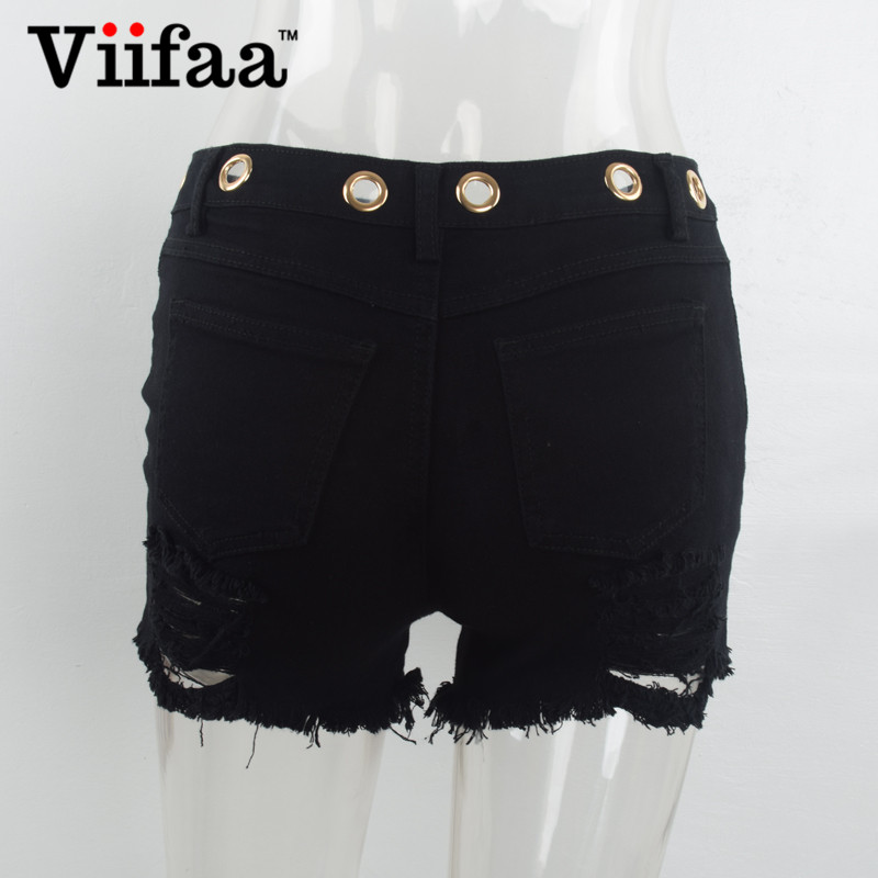 Viifaa Eyelets Hole Shorts Women Black Ripped Short Jeans Ladies Cotton  Denim Shorts Summer Sexy Short Feminino-in Shorts from Women s Clothing on  ... a2af45aa038b
