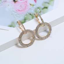 L&H Bohemia Style Double Circle Fashion Earrings Shine Rhinestone Pendant Statement Classic For Women