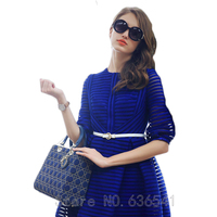 2015 New Arrival Spring Summer Blue White Vestidos Hollow Out Women Fashion Charm Slim Knee Length