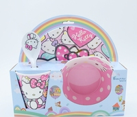 4pcs Set Children S Day Gifts Kid S Cartoon Tableware Christmas Day Plastic Hello Kitty Xmas