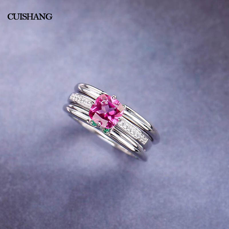 CSJ Pink Topaz Rings Genuine 925 Sterling Silver Engagement Rings For Women Wedding Party Gift Fine Jewelry csj 100