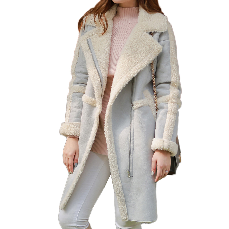 Faux suede leather long women's jacket coat 2018 Winter female warm fur jacket cardigan Autumn light blue outwear femme коляска marimex armel красный графит принт цветы